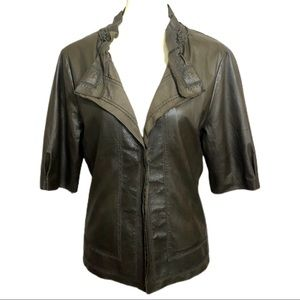 Elie Tahari Buttery Soft Laser Cut Leather Jacket